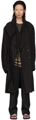 Ann Demeulemeester Black Hemp Brushed Coat