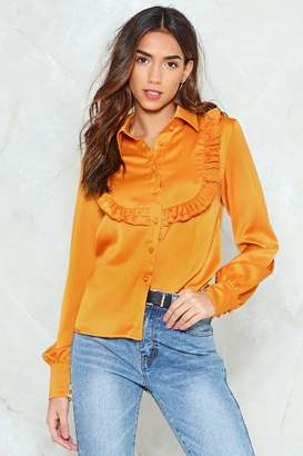 Nasty Gal It's a Ruffle Patch Satin Shirt