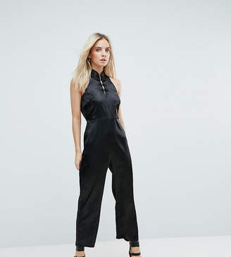 Fashion Union Petite High Neck Jumpsuit With High Neck And Button Detail