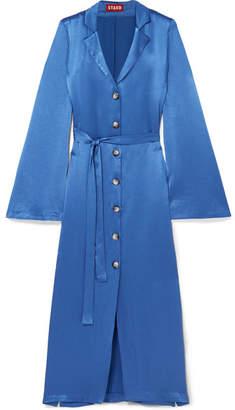STAUD - Sandy Belted Satin Dress - Blue