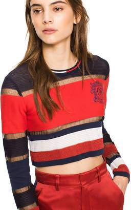 Tommy Hilfiger Mixed Media Cropped Sweater