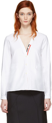 Thom Browne White Cardigan Shirt $790 thestylecure.com