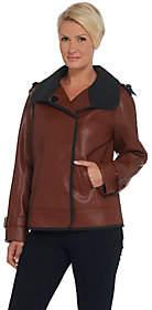 Moto Dennis Basso Faux Leather Jacket w/Epaulet Detail