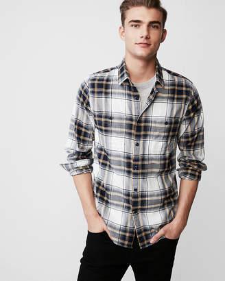 Express Slim Plaid Flannel Shirt
