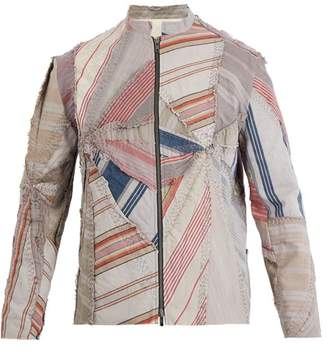 By Walid - Ticking Patchwork Cotton Jacket - Mens - Multi