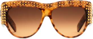 Gucci Oversize acetate sunglasses with crystals