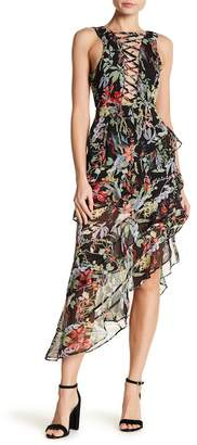 Wow Couture Tiered Ruffle Asymmetrical Laced Neck Dress