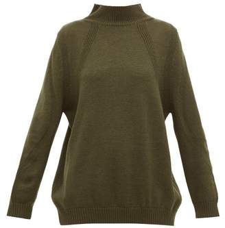 Hanro High Neck Ribbed Wool Sweater - Womens - Dark Green