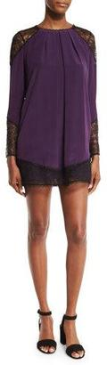 Alice + Olivia Gracie Lace-Panel Pleated Tunic, Plum $350 thestylecure.com