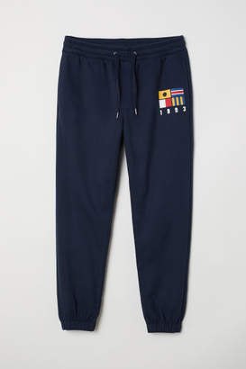 H&M Sweatpants with Printed Design - Blue