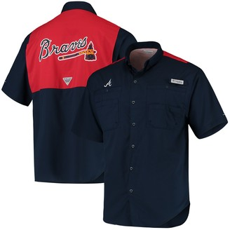 Columbia Unbranded Men's Navy/Red Atlanta Braves Tamiami Colorblock Button-Down Omni-Shade Shirt
