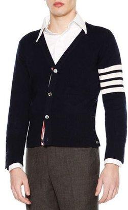 Thom Browne Classic V-Neck Cashmere Cardigan, Navy $1,790 thestylecure.com