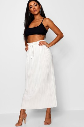 boohoo Tie Waist Pleated Maxi Skirt