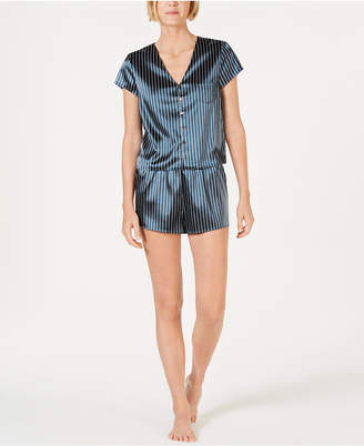 INC International Concepts I.n.c. Printed Satin Short-Sleeve Top & Pajama Shorts Set