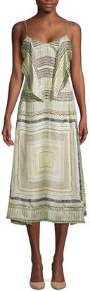 Derek Lam Printed Silk A-Line Dress