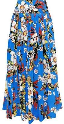 Diane von Furstenberg Pleated Floral-Print Silk Crepe De Chine Maxi Wrap Skirt