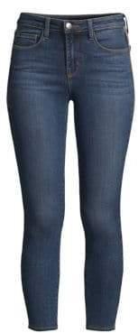 L'Agence Margot High-Rise Glitter Stripe Skinny Jeans