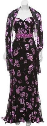 Terani Couture Embellished Metallic Gown