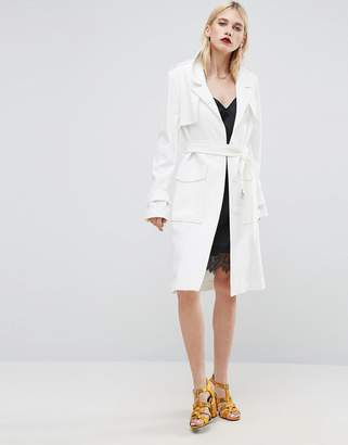 ASOS Trench in Structured Crepe with Oversized Pockets $119 thestylecure.com