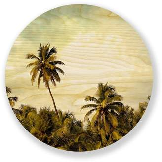 "Two Palms Art Bazaar Natural Wood Wall Art ""Palm Tree Supreme"""
