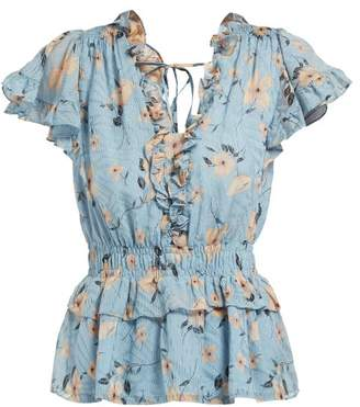 Rebecca Taylor Floral Print Ruffled Silk Blend Blouse - Womens - Light Blue
