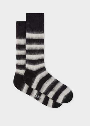 Paul Smith Men's Black And White Stripe Mohair-Blend Socks