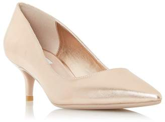 Dune Rose Leather 'Alesandra' Mid Kitten Heel Court Shoes