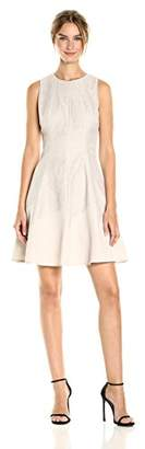 Anne Klein Women's Lace Seamed Fit and Flare with Asym Hem