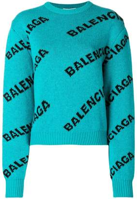 Balenciaga Jacquard Logo Crewneck cropped sweater