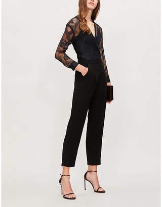 Maje Lace-panel straight-leg crepe jumpsuit