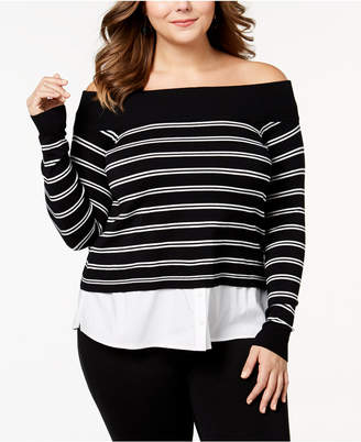 INC International Concepts I.n.c. Plus Size Layered-Look Off-The-Shoulder Sweater, Created for Macy's