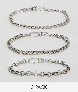 Reclaimed Vintage inspired Chain Bracelet pack in burnished silver exclusive at ASOS