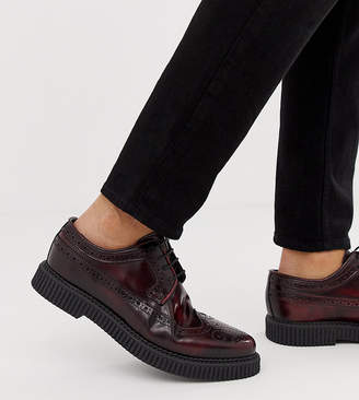 Asos Design DESIGN brogue shoes with creeper sole in burgundy leather