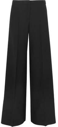 Alexander McQueen Satin-Trimmed Wool-Blend Crepe Wide-Leg Pants
