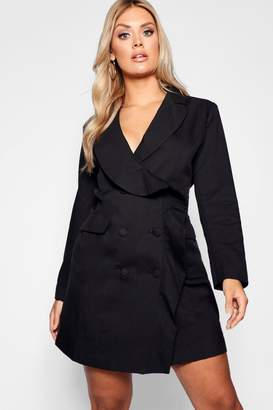 boohoo Plus Ruffle Detail Mini Blazer Dress