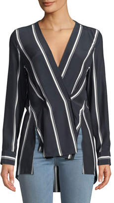 Rag & Bone Debbi Striped Silk Drape-Front Top