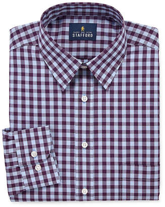 STAFFORD Stafford Travel Stretch Performance Super Shirt Big And Tall Long Sleeve Broadcloth Checked Dress Shirt