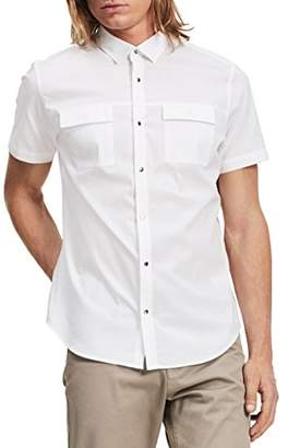 Calvin Klein Men's Short Sleeve Stretch Poplin Military Shirt