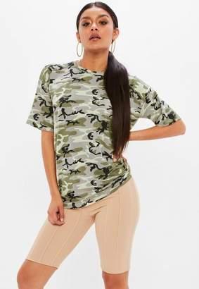 Missguided Khaki Oversized Camo T Shirt