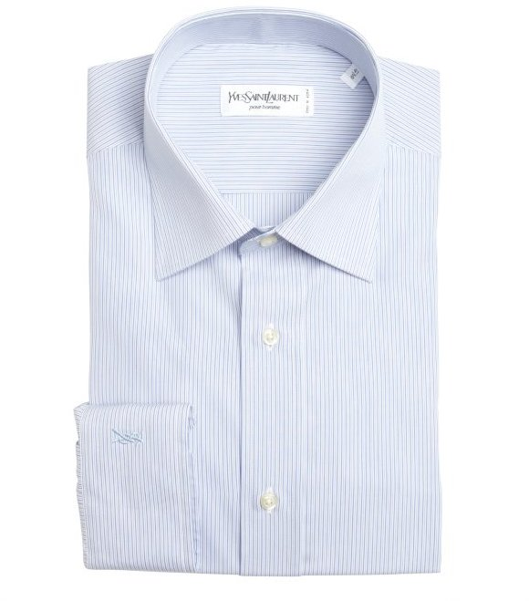 Yves Saint Laurent blue and white cotton micro stripe point collar dress shirt
