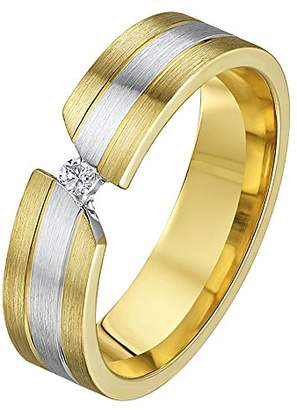 Theia His & Hers 14ct Yellow and White Gold Two-Tone 5mm Diamond Wedding Ring - Size M