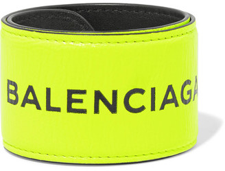 Balenciaga - Cycle Textured-leather Bracelet - Yellow $195 thestylecure.com