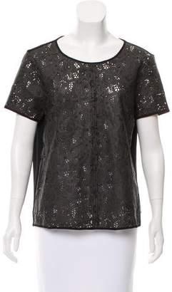 Patterson J. Kincaid PJK Leather Short Sleeve Top