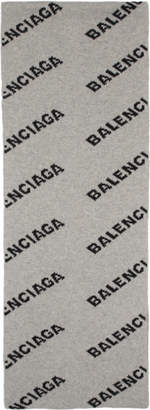 Balenciaga Grey and Black Allover Logo Scarf