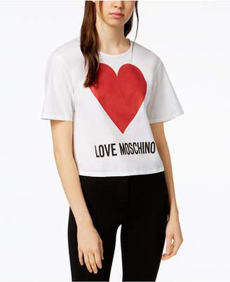 Love Moschino Shimmer Heart Logo T-Shirt