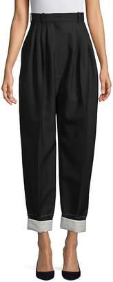 Celine Women's Wide-Leg Pleat-Front Pants
