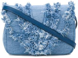 Elena Ghisellini distressed trim flap handbag