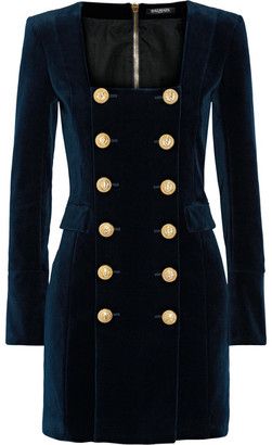 Balmain - Double-breasted Cotton-blend Velvet Mini Dress - Navy $3,900 thestylecure.com