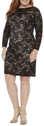BLU SAGE Blu Sage Long Sleeve Lace Illusion Dress - Plus