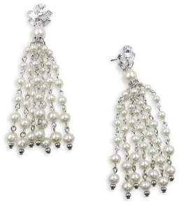 CRISTABELLE Faux Pearl and Rhinestone Fringe Earrings